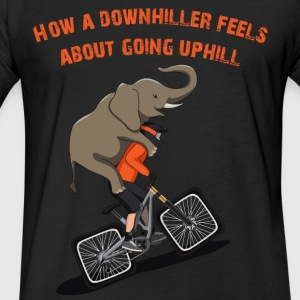 Downhill Biker Going Uphill - Fitted Cotton/Poly T-Shirt by Next Level