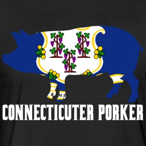 Connecticuter Porker State Flag Pig Pork BBQ - Fitted Cotton/Poly T-Shirt by Next Level