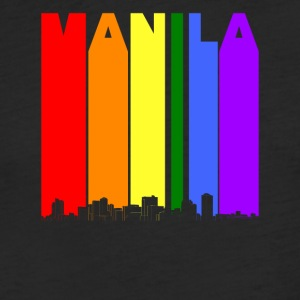 Manila Philippines Skyline Rainbow LGBT Gay Pride - Fitted Cotton/Poly T-Shirt by Next Level