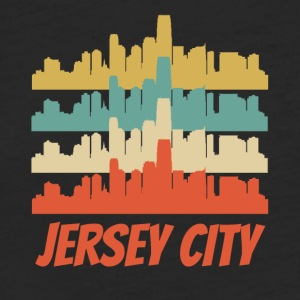 Retro Jersey City NJ Skyline Pop Art - Fitted Cotton/Poly T-Shirt by Next Level
