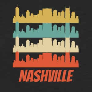 Retro Nashville TN Skyline Pop Art - Fitted Cotton/Poly T-Shirt by Next Level