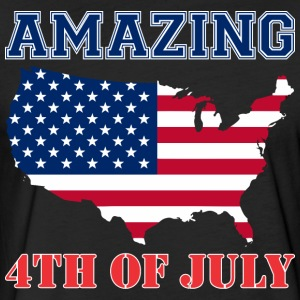 Amazing 4th Of July Usa Map America - Fitted Cotton/Poly T-Shirt by Next Level