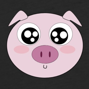 Kawaii Pig Face - Fitted Cotton/Poly T-Shirt by Next Level
