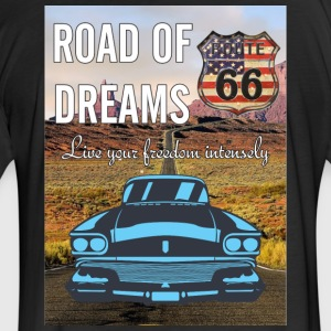 Route 66 shirt and mug - Fitted Cotton/Poly T-Shirt by Next Level