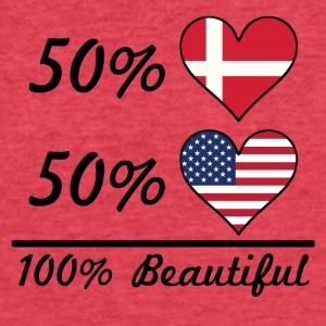 50% Danish 50% American 100% Beautiful - Fitted Cotton/Poly T-Shirt by Next Level