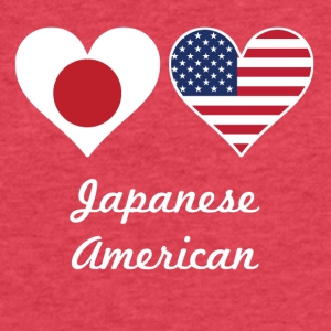 Japanese American Flag Hearts - Fitted Cotton/Poly T-Shirt by Next Level