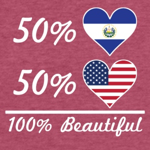 50% El Salvadorian 50% American 100% Beautiful - Fitted Cotton/Poly T-Shirt by Next Level