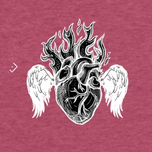 Burning Heart B/W - Fitted Cotton/Poly T-Shirt by Next Level
