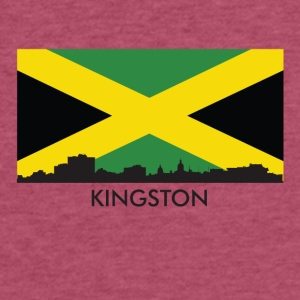 Kingston Jamaica Skyline Jamaican Flag - Fitted Cotton/Poly T-Shirt by Next Level