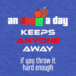 An apple a day keeps anyone away if you throw it - Fitted Cotton/Poly T-Shirt by Next Level