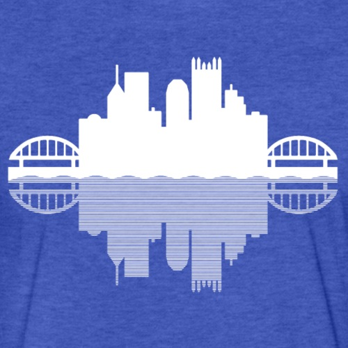 Pittsburgh Skyline Reflection - Fitted Cotton/Poly T-Shirt by Next Level