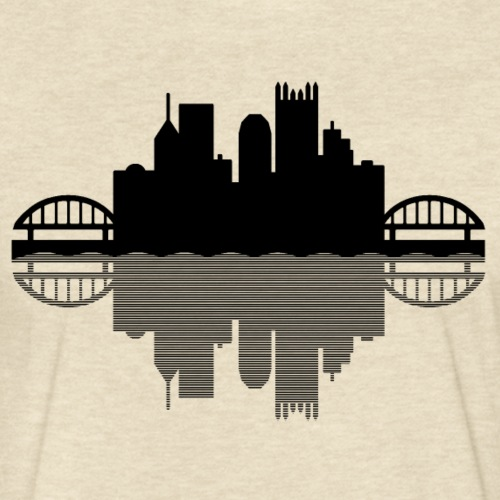 Pittsburgh Skyline Reflection (Black) - Fitted Cotton/Poly T-Shirt by Next Level