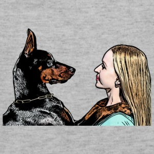 dog doberman and blonde woman, love, hug - Sweatshirt Cinch Bag
