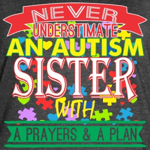 Never Underestimate Autism Sister With Prayer Plan - Women's Vintage Sport T-Shirt