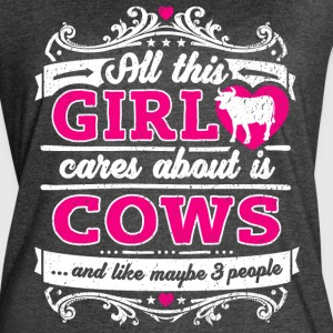 All This Girl Cares About Is Cows Funny Shirt - Women's Vintage Sport T-Shirt