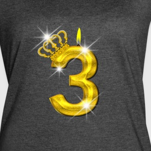 3 - Birthday - Golden Number - Crown - Flame - Women's Vintage Sport T-Shirt