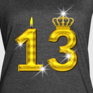 13 - Birthday - Golden Number - Crown - Flame - Women's Vintage Sport T-Shirt