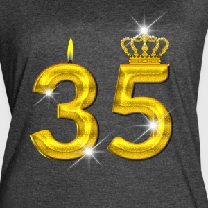 35 - Birthday - Golden Number - Crown - Flame - Women's Vintage Sport T-Shirt