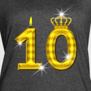 10 - Birthday - Golden Number - Crown - Flame - Women's Vintage Sport T-Shirt