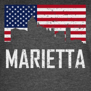 Marietta Georgia Skyline American Flag Distressed - Women's Vintage Sport T-Shirt