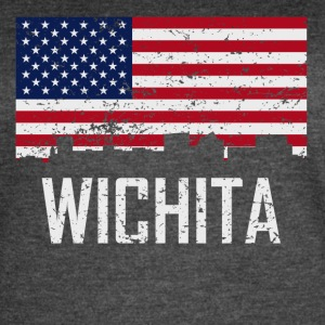 Wichita Kansas Skyline American Flag Distressed - Women's Vintage Sport T-Shirt
