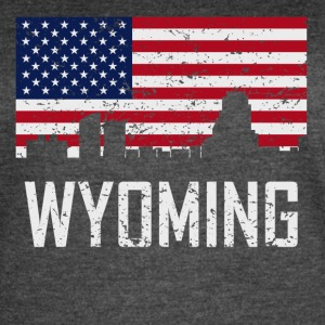 Wyoming Michigan Skyline American Flag Distressed - Women's Vintage Sport T-Shirt