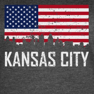 Kansas City Missouri Skyline American Flag - Women's Vintage Sport T-Shirt