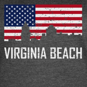 Virginia Beach Virginia Skyline American Flag - Women's Vintage Sport T-Shirt