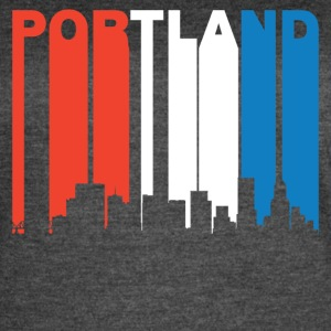 Red White And Blue Portland Oregon Skyline - Women's Vintage Sport T-Shirt