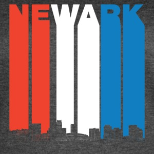 Red White And Blue Newark New Jersey Skyline - Women's Vintage Sport T-Shirt