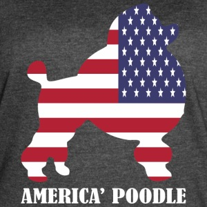 American Poodle Dog Flag Memorial Day USA - Women's Vintage Sport T-Shirt