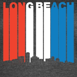 Red White And Blue Long Beach California Skyline - Women's Vintage Sport T-Shirt