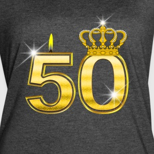 50 - Birthday - Queen - Gold - Flame & Crown - Women's Vintage Sport T-Shirt