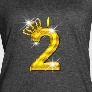2 - Birthday - Golden Number - Crown - Flame - Women's Vintage Sport T-Shirt