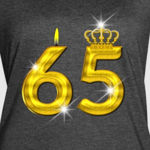 65 - Birthday - Golden Number - Crown - Flame - Women's Vintage Sport T-Shirt