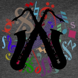 saxophones on music notes - Women's Vintage Sport T-Shirt