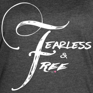 Fearless and Free2 White Print - Women's Vintage Sport T-Shirt