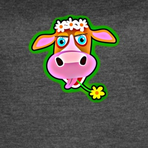 Cute Cow with Bohemian Flower Crown - Women's Vintage Sport T-Shirt