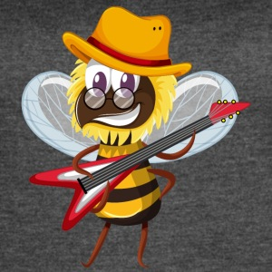 Bee musician insect guitar cartoon wesome vector - Women's Vintage Sport T-Shirt