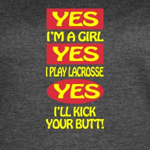 Yes I'm A Girl Yes I Play Lacross - Women's Vintage Sport T-Shirt