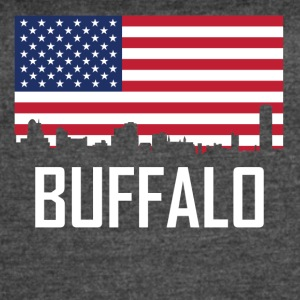Buffalo New York Skyline American Flag - Women's Vintage Sport T-Shirt