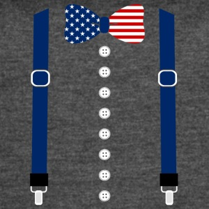 Suspenders USA Flag Tuxedo Funny Patriotic Costume - Women's Vintage Sport T-Shirt