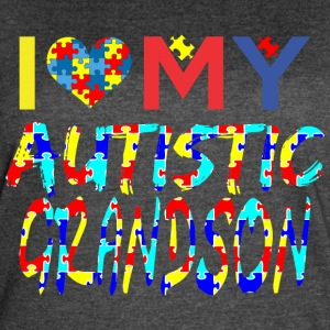 I Love My Autistic Grandson Autism Awareness - Women's Vintage Sport T-Shirt