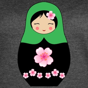 Green Matryoshka doll with flowers - Women's Vintage Sport T-Shirt