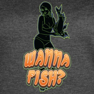 sexy_girl_offering_fish_black_green - Women's Vintage Sport T-Shirt