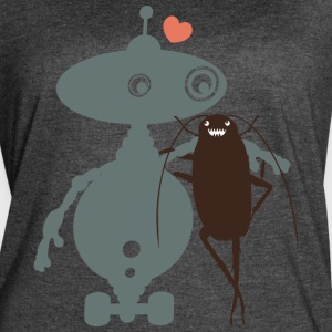 Cute robot cockroach friends falling in love - Women's Vintage Sport T-Shirt