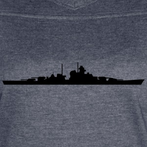 Vector Navy warship Silhouette - Women's Vintage Sport T-Shirt