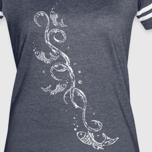 Water splash, fishes, bubbles and Tribal, of water - Women's Vintage Sport T-Shirt