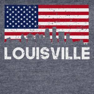 Louisville KY American Flag Skyline Distressed - Women's Vintage Sport T-Shirt