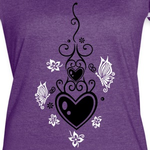 Hearts with tribal, flowers and butterflies - Women's Vintage Sport T-Shirt